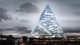 Présentation photographique du projet de la tour Triangle, le 25 septembre 2014, à la mairie de Paris. (  MAXPPP)