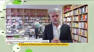 Matthieu de Montchalin, ancien président du Syndicat de la librairie française, était l'invité de franceinfo le 21 mai 2021. (FRANCEINFO)
