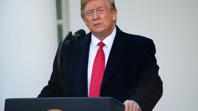 Donald Trump, le 1er décembre 2019, lors d'un discours pour la fête deThanksgiving à la Maison Blanche, à Washington. (SAUL LOEB / AFP)
