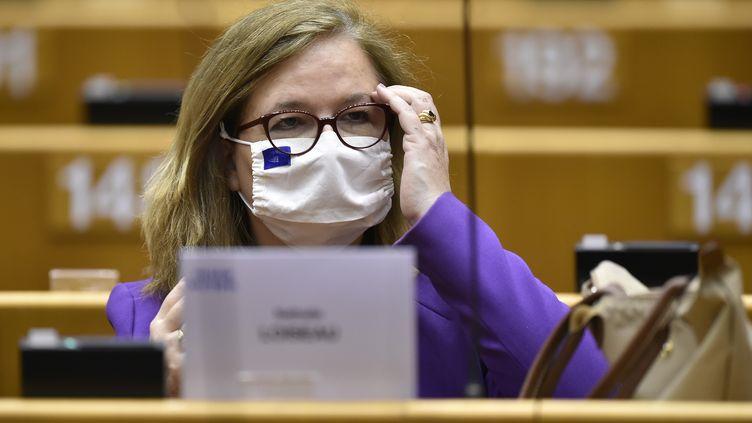 La députe européenne LREM Nathalie Loiseau au parlement européen de Bruxelles, en juin 2020. (JOHN THYS / AFP)