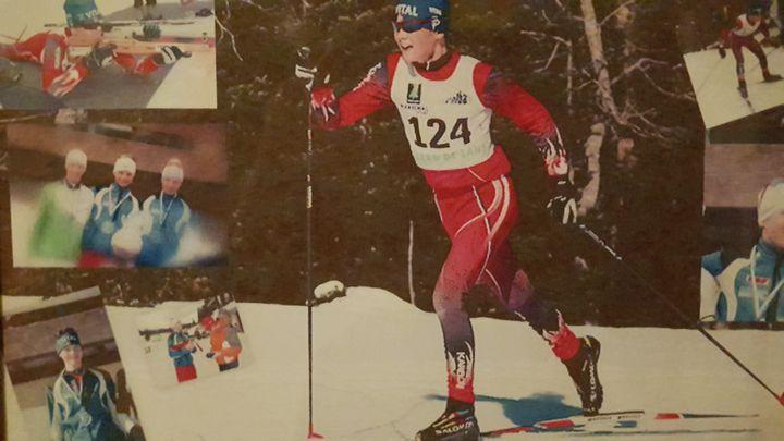 Emilien Jacquelin en ski de fond pendant son adolescence.