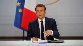 Le président de la République, Emmanuel Macron, à l'Elysée, le 25 avril 2019. (PHILIPPE WOJAZER / REUTERS)