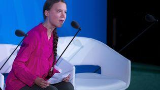 L'activiste écologiste Greta Thunberg, le 23 septembre 2019 à New York (Etats-Unis). (JOHANNES EISELE / AFP)