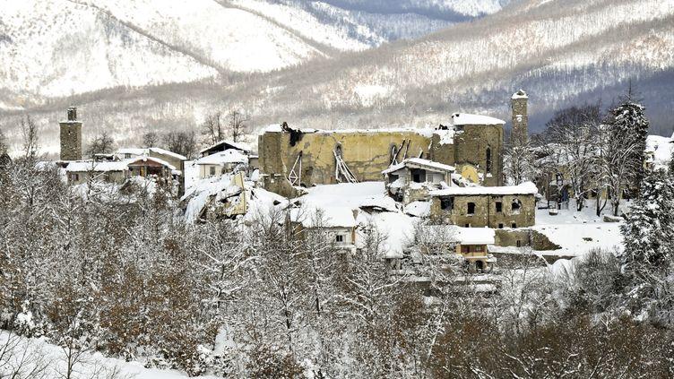 Le village d'Amatrice, dans la région du Latium (centre de l'Italie), est régulièrement secouée par des séismes. Ici, le 19 janvier 2017. (ANDREAS SOLARO / AFP)
