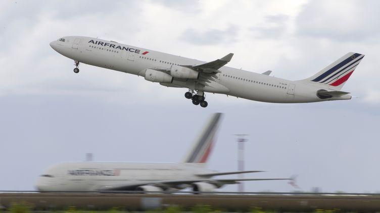 Un avion de la compagnie aérienne Air France le 18 août 2014 à l'aéroport de Roissy. (KENZO TRIBOUILLARD / AFP)