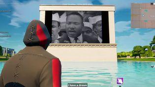 """""""I have a dream"""", discours de Martin Luther King diffusé dans le jeu vidéo Fortnite en août 2021. (FRANCEINFO / RADIOFRANCE)"""