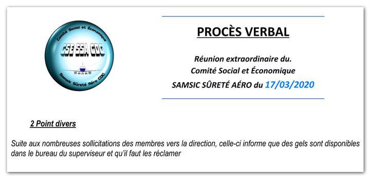 Extrait du procès-verbal de la réunion du CSE de Samsic du 17 mars 2020. (CELLULE INVESTIGATION DE RADIOFRANCE)