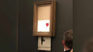 """La fille au ballon"" de Banksy s'auto-détruit à Londres le 05/10/18  (France 3 / Culturebox / capture d'écran)"