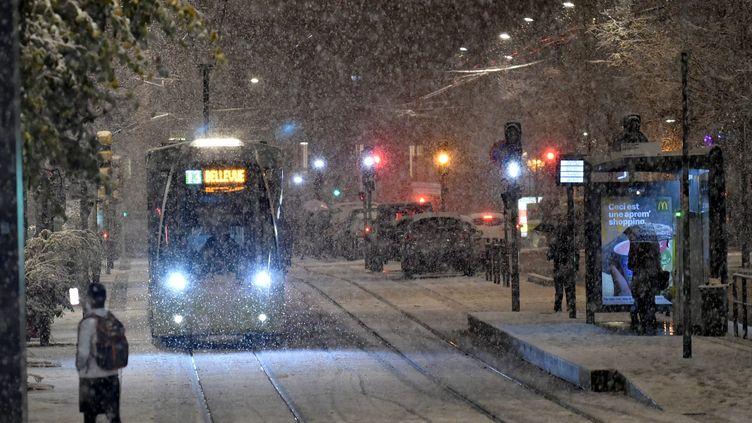 Chute de neige sur la ville de Saint-Etienne, le 14 novembre 2019. (R?MY PERRIN / MAXPPP)