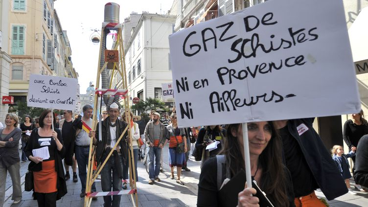 Des manifestants contre l'exploitation des forages de gaz de schiste à Marseille, le 16 avril 2016. (BORIS HORVAT / AFP)