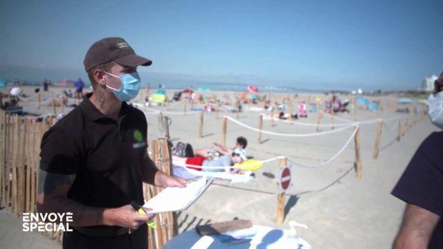 Envoyé spécial. Coronavirus et plage : sur réservation à partir de 4 heures du matin, avec des couloirs de circulation pour entrer et sortir de l'eau
