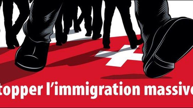Affiche choc des partisans du référendum visant à limiter l'immigration en Suisse.