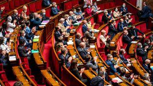 Des députés dans l'hémicycle de l'Assemblée nationale, le 23 juin 2020. (XOS? BOUZAS / HANS LUCAS / AFP)