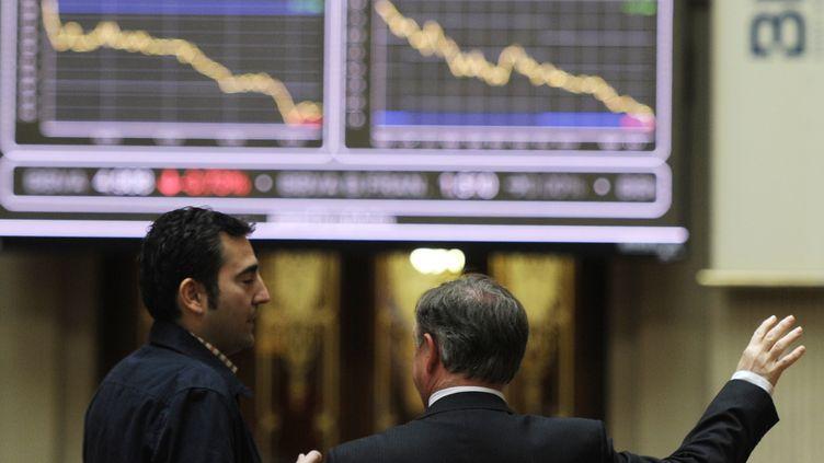 A la Bourse de Madrid, le 23 avril 2012. (DOMINIQUE FAGET / AFP)