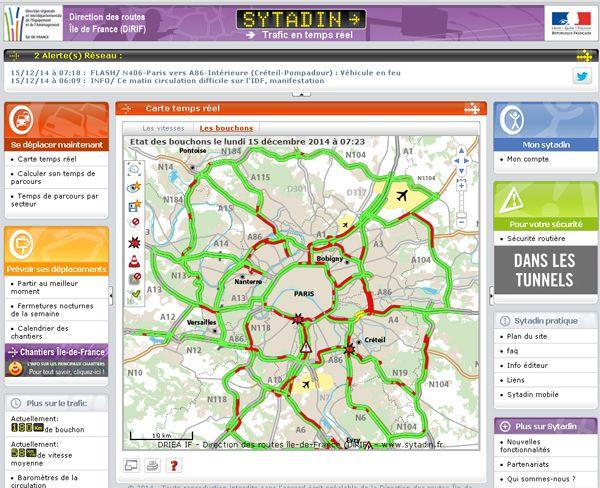 (Un lundi matin pour le moment ordinaire, voire moins chargé que d'habitude à cette heure sur les routes © Capture d'écran du site Sytadin, trafic en temps réel, à 7h23)
