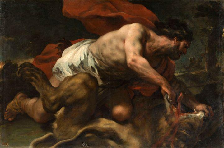 """Luca Giordano, """"Samson et le lion [Sansone e il leone]"""", 1694-1696, Madrid, Museo Nacional del Prado (© Museo Nacional del Prado, Dist. RMN-GP / image du Prado)"""