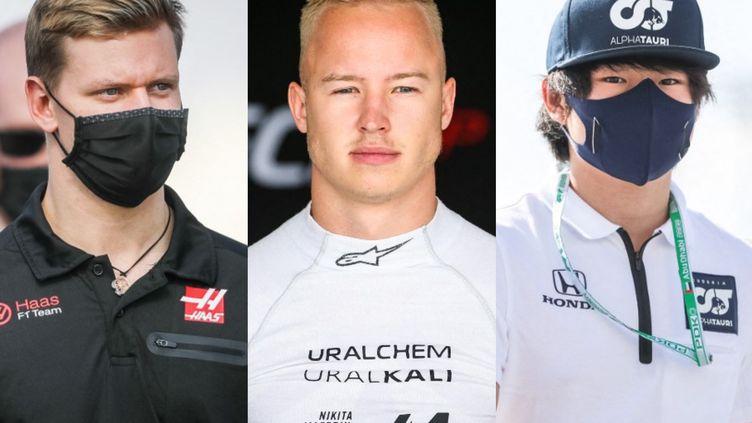 Mick Schumacher, Nikita Mazepin et Yuki Tsunoda (de gauche à droite), les trois rookies de la saison 2021 de Formule 1.