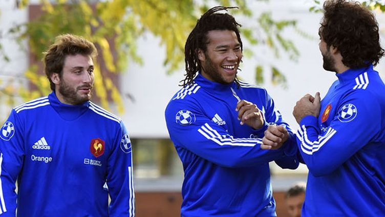 Les joueurs du XV de France Maxime Médard et Teddy Thomas
