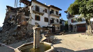 Le village de San Lorenzo a été en grande partie détruit par le séisme du 27 août 2016. (ALBERTO PIZZOLI / AFP)