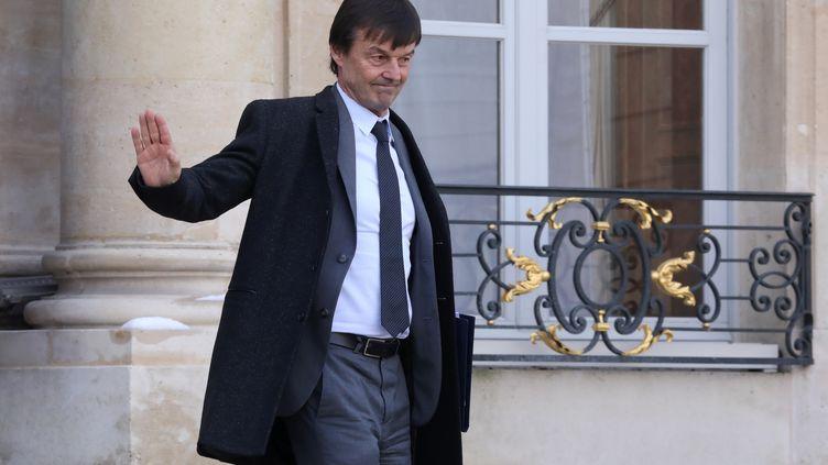 Nicolas Hulot, ministre dela Transition écologique, quitte l'Elysée, le 8 février 2018. (LUDOVIC MARIN / AFP)