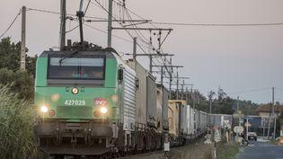 Un train de marchandises passe au Boulou (Pyrénées-Orientales), le 27 octobre 2017. (MAXPPP)