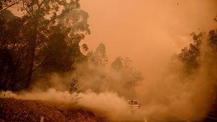 La fumée de feux de forêts envahit la ville de Moruya, en Nouvelle-Galles du Sud (Australie), le 4 janvier 2020. (PETER PARKS / AFP)