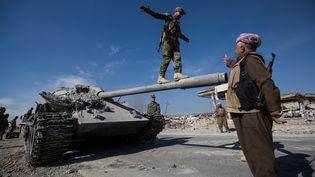 Des unités kurdes célèbrent la libération de la ville irakienne de Sinjar après des combats contre le groupe Etat islamique, le 15 novembre 2015. (SEBASTIAN BACKHAUS / NURPHOTO / AFP)