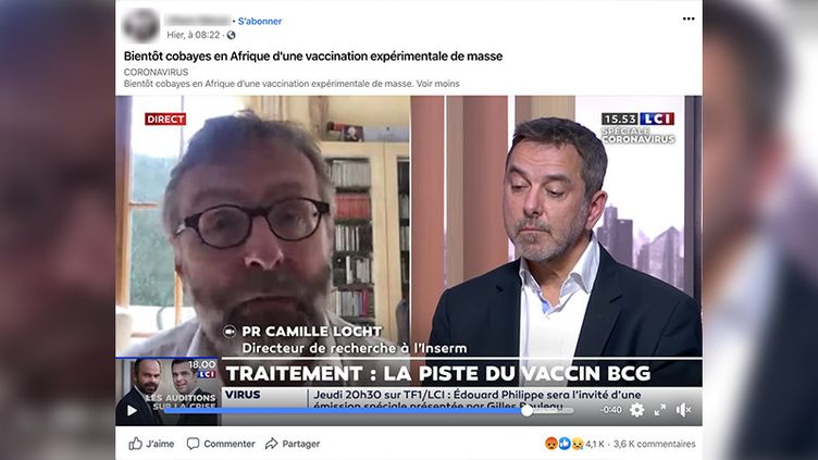 Capture d'écran d'un post Facebook, du 2 avril 2020, évoquant une vaccination expérimentale en Afrique. (CAPTURE ECRAN)
