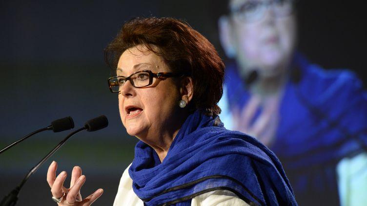 Christine Boutin, présidente d'honneur du Parti chrétien-démocrate, lors d'un meeting de campagne le 17 mai 2014 à Paris. (BERTRAND GUAY / AFP)