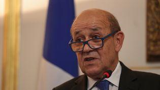 Le ministre des Affaires étrangères Jean-Yves Le Drian lors d'une conférence de presse au Caire (Egypte) le 17 septembre 2019. (MOHAMED EL-SHAHED / AFP)