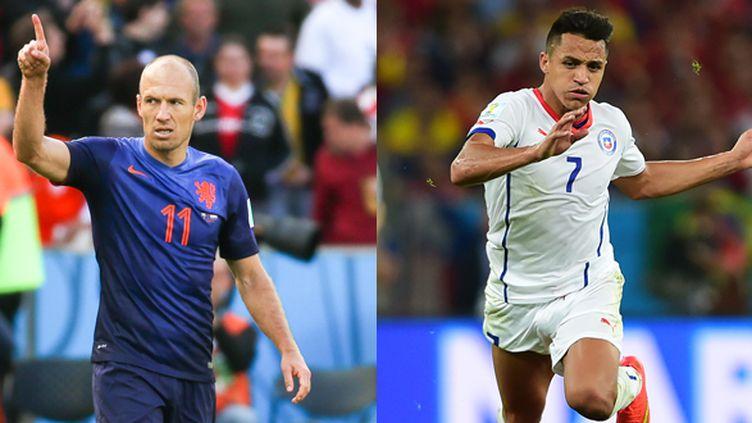 Le Hollandais Arjen Robben (à g.) va se frotter au Chilien Alexis Sanchez