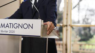 Le Premier ministre Edouard Philippe lors d'une conférence de presse à Matignon, jeudi 13 février 2020. (DENIS MEYER / HANS LUCAS / AFP)
