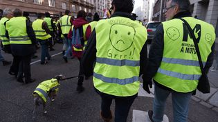 """Un défilé de """"gilets jaunes"""" à Strasbourg, le 17 novembre 2018. (FREDERICK FLORIN / AFP)"""