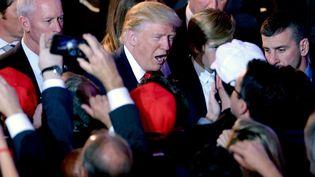 Donald Trump salue la foule après sa victoire à l'élection présidentielle américaine, le 9 novembre 2016. (DENNIS VAN TINE / MAXPPP)