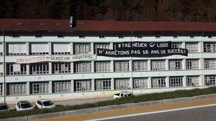 L'usine de lunettes Logo à l'entrée de Morez, dans le Jura. (SÉBASTIEN BAER / RADIO FRANCE)