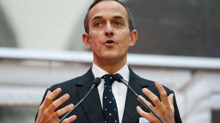 Le directeur de Sciences-Po, Frédéric Mion, lors d'un discours devant le nouveau campus de l'école, à Paris, le 11 janvier 2018. (PATRICK KOVARIK / AFP)