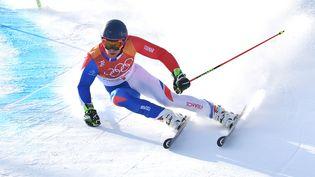 Le Français Alexis Pinturault aux JO d'hiver de Pyeongchang, en Corée du Sud, le 18 février 2018. (FRANK HOERMANN / SVEN SIMON / AFP)
