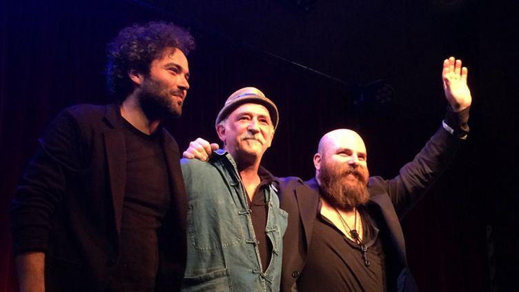 Babx, André Minvielle et Thomas de Pourquery le 7 octobre 2016 à Paris, au Studio de l'Ermitage  (Annie Yanbékian (sur smartphone de fan))
