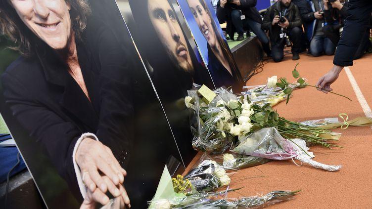 Les photos de Florence Arthaud, d'Alexis Vastine et deCamille Muffat, exposées à l'Insep, à Paris, le 11 mars 2015. (LOIC VENANCE / AFP)