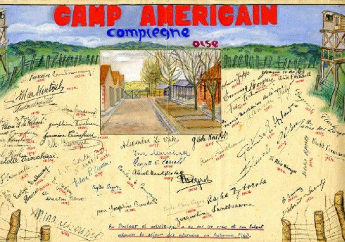 Dessin dédié au Docteur Gomes De Mattos, Brésilien, comportant 52 signatures de femmes internées britanniques au camp B de Compiègne-Royallieu en 1943 (auteur inconnu).On y aperçoit la signature d'enfant de Charlotte Trinchieri.  ( Prêt Bertrand Apostle )