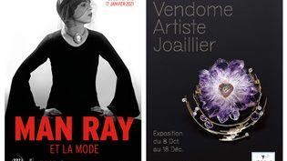 """Affiches des expositions""""Man Ray et la mode"""" et""""Jean Vendome. Artiste joaillier""""à Paris, qui se tiendront à la rentrée 2020 (MAN RAY /JEAN VENDOME)"""