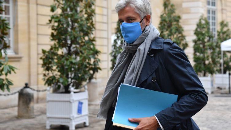 Laurent Wauquiez, le président (LR) de la région Auvergne-Rhône-Alpes, à Matignon, à Paris, le 28 septembre 2020. (ALAIN JOCARD / AFP)