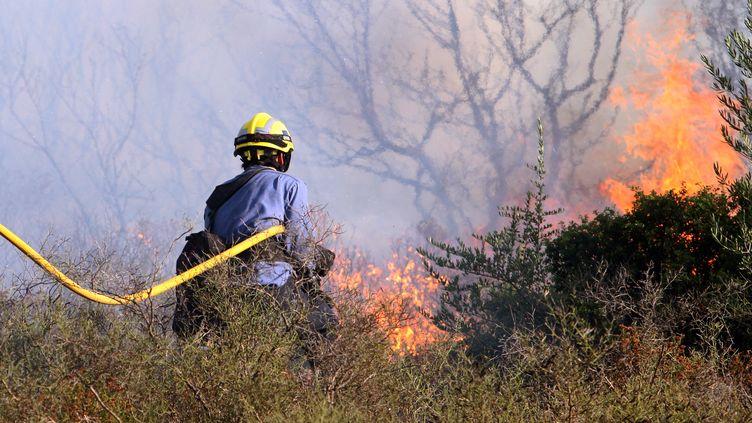Un pompier espagnol lutte contre les flammes à Figueres (Catalogne) le 23 juillet 2012. (RAYMOND ROIG / AFP)