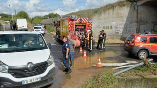 Intervention des pompiers dans le Gard après les fortes intempéries qui ont touché le département, mardi 14 septembre 2021. (MAXPPP)