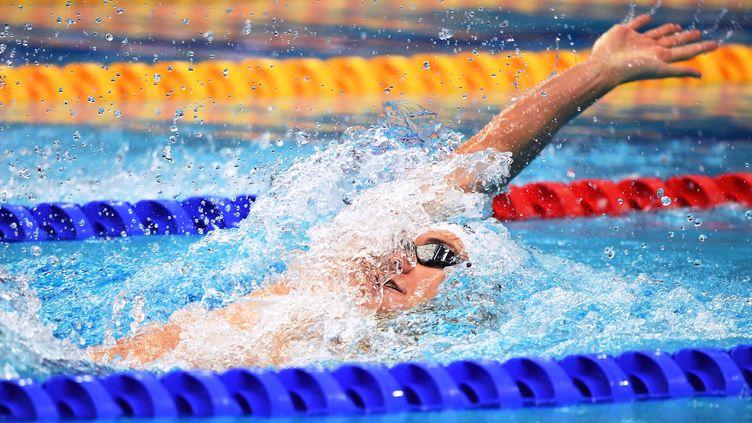 Mewen Tomac lors du 200m dos des derniers championnats d'Europe à Budapest, le 21 mai (ATTILA KISBENEDEK / AFP)