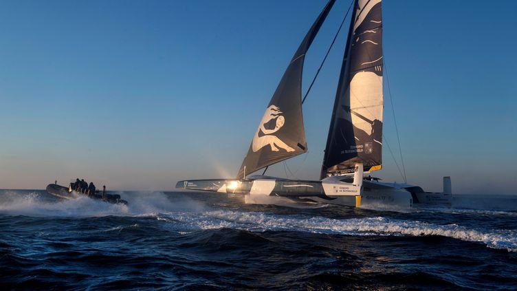 Le Maxi Edmond de Rothschild de la Team Gitana sur le Trophée Jules Verne. (FRED TANNEAU / AFP)