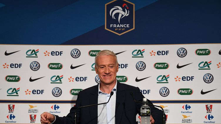 """Didier Deschamps a annoncé la """"liste des 23"""" joueurs pour la Coupe du monde 2018. (FRANCK FIFE / AFP)"""