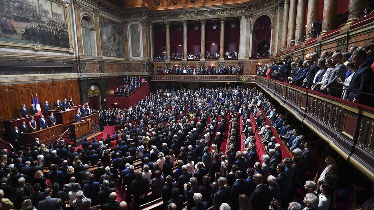 Emmanuel Macron devant les parlementaires réunis en Congrès à Versailles, le 3 juillet 2017. (ERIC FEFERBERG / AFP)