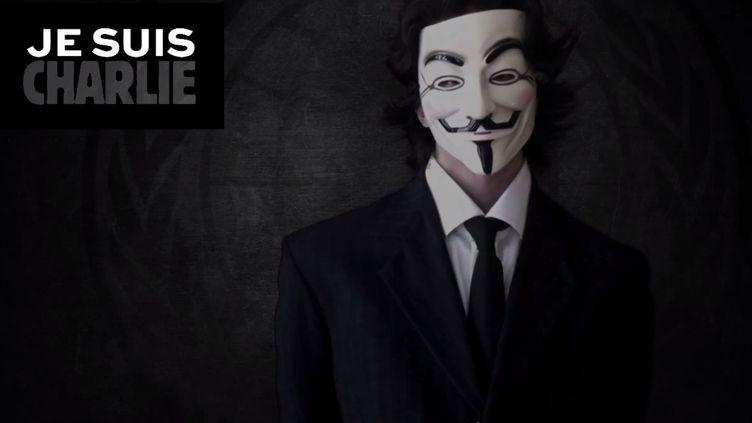 Capture d'écran d'une vidéo des Anonymous annonçant leur attaque imminente contre des sites jihadistes. (ANONYMOUS FRANCE / YOUTUBE)