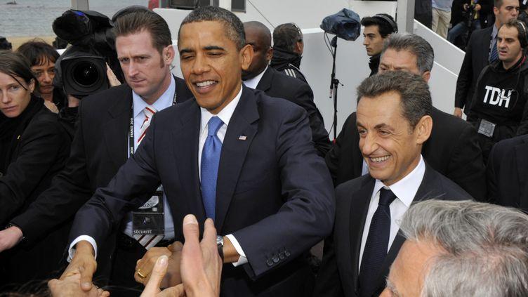 Le président américain Barack Obama arrive à Cannes pour participer au sommet du G20, le 3 novembre 2011. (PHILIPPE WOJAZER / AFP)